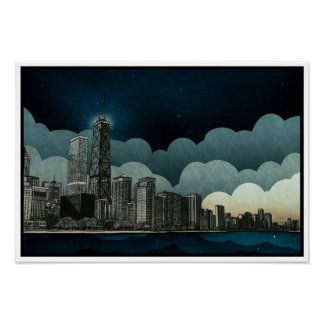 Chicago Skyline Architectural Drawing Poster