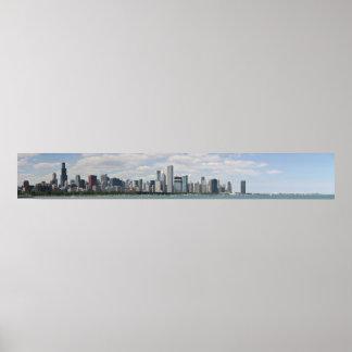 Chicago skyline as seen from adler planetarium poster