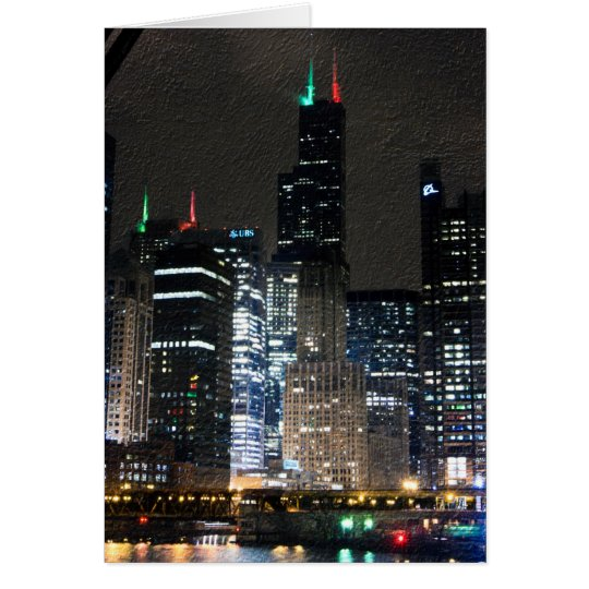 Chicago Skyline at Christmans Card