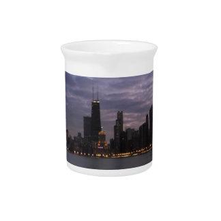 Chicago Skyline at Dusk Beverage Pitcher