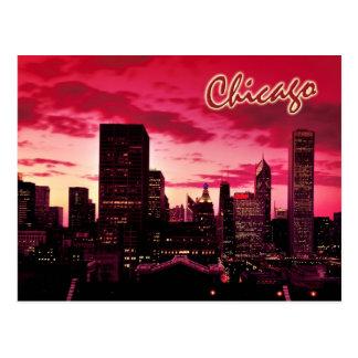 Chicago Skyline at Dusk Post Cards