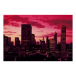 Chicago Skyline at Dusk Posters