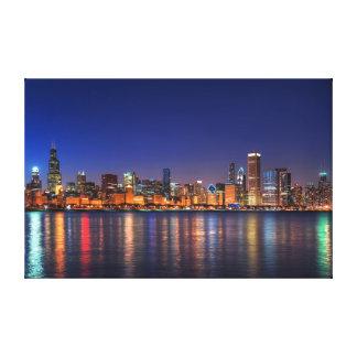 Chicago skyline at midnight canvas print