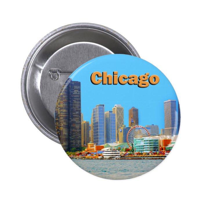 Chicago Skyline At Navy Pier Button