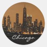 Chicago Skyline at night at John Hancock Center Classic Round Sticker