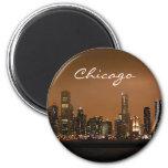 Chicago Skyline at night at Navy Pier 2 Inch Round Magnet