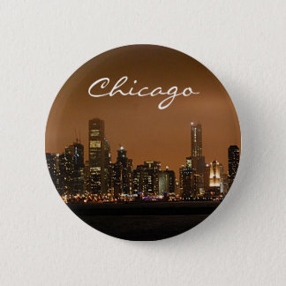 Chicago Skyline at night at Navy Pier Pinback Button
