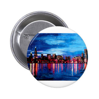 Chicago Skyline At Night Pinback Buttons