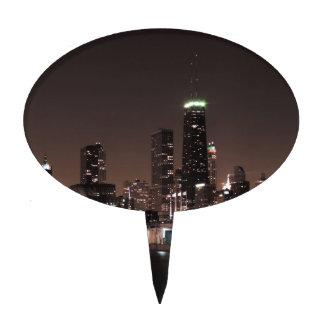 Chicago Skyline at Night Cake Topper