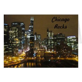 Chicago Skyline at Night Card