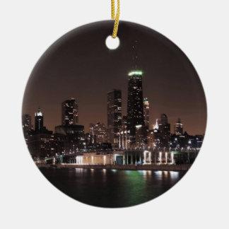 Chicago Skyline at Night Ceramic Ornament
