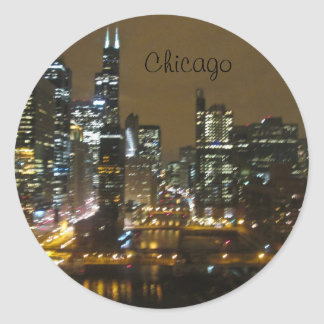 Chicago Skyline at Night Classic Round Sticker