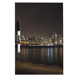 Chicago Skyline at Night Dry Erase Whiteboards
