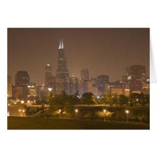 Chicago skyline at night greeting card