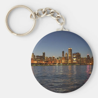 Chicago Skyline At Night Keychain