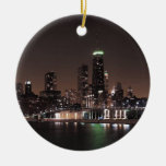 Chicago Skyline at Night Double-Sided Ceramic Round Christmas Ornament