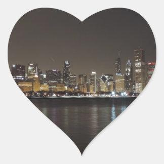 Chicago Skyline at Night Heart Sticker