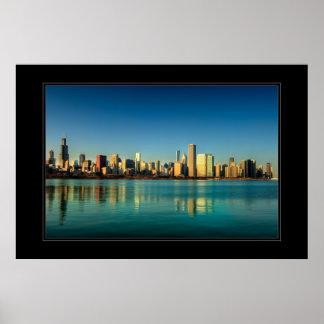 Chicago skyline at sunrise poster