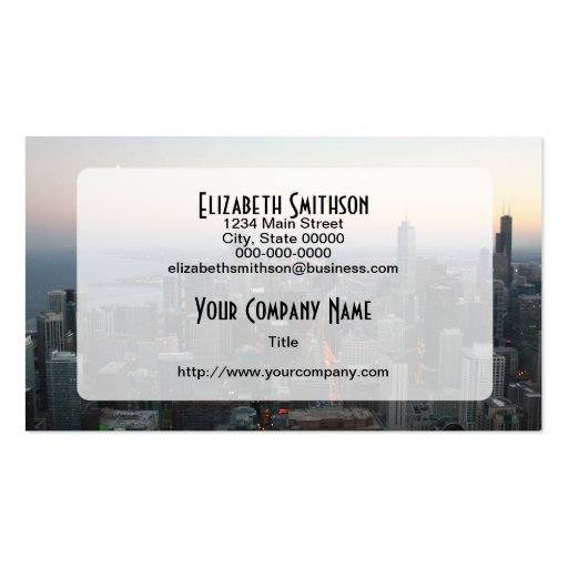 Chicago Skyline at Sunset Business Card Template