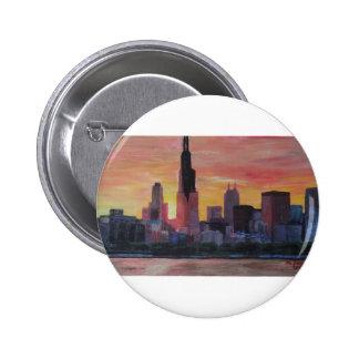 Chicago Skyline at Sunset Pinback Button