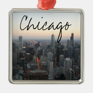 Chicago Skyline at Sunset Metal Ornament