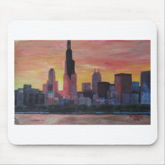 Chicago Skyline at Sunset Mouse Pad