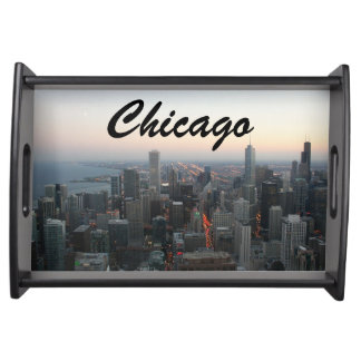 Chicago Skyline at Sunset Serving Platters