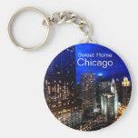 Chicago Skyline Basic Round Button Keychain