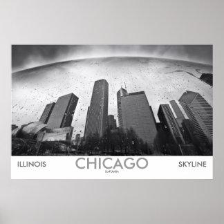 Chicago Skyline Black and White Photo Poster