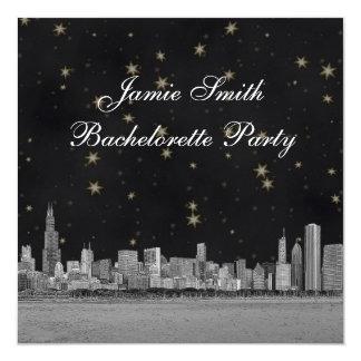 Chicago Skyline Black Gold Star Bachelorette Card