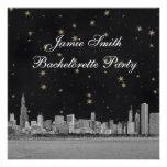 Chicago Skyline Black Gold Star Bachelorette Custom Invite