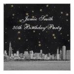 Chicago Skyline Black Gold Star Birthday Party Invitation