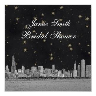 Chicago Skyline Black Gold Star Bridal Shower Invite