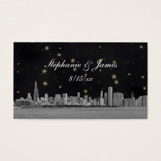 Chicago Skyline Black Gold Star Escort Cards