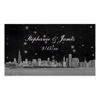 Chicago Skyline Black Gold Star Escort Cards Business Card Template