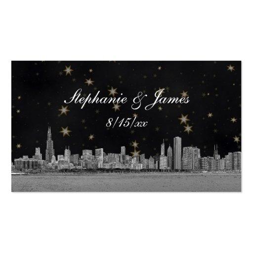Chicago Skyline Black Gold Star Escort Cards Business Card