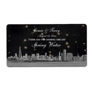 Chicago Skyline Black Gold Star H Water Bottle Label