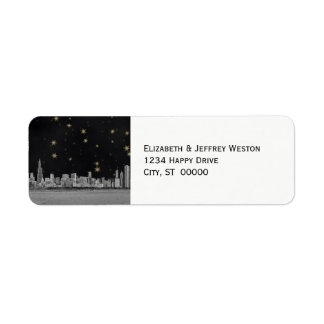 Chicago Skyline Black Gold Star Label