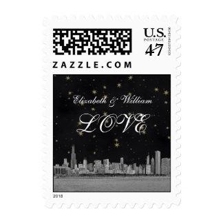 Chicago Skyline Black Gold Star LOVE Stamp