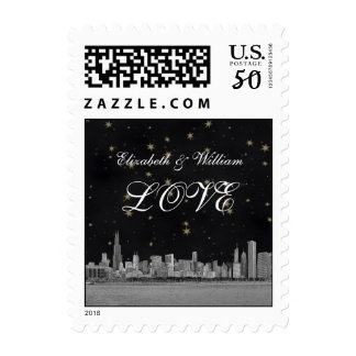 Chicago Skyline Black Gold Star LOVE Stamp