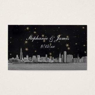 Chicago Skyline Black Gold Star Place Cards