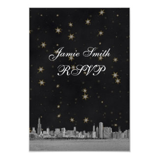 Chicago Skyline Black Gold Star RSVP w Menu Card