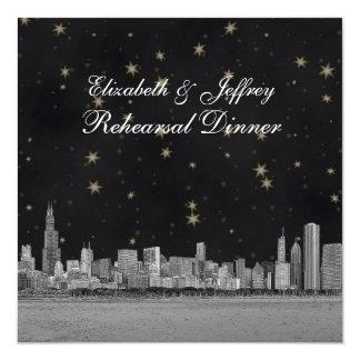 Chicago Skyline Black Gold Star S Rehearsal Card
