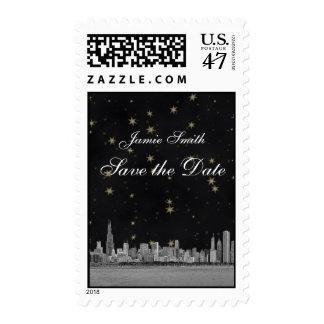 Chicago Skyline Black Gold Star Save the Date Postage