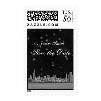 Chicago Skyline Black Gold Star Save the Date Postage