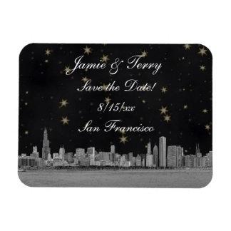 Chicago Skyline Black Gold Star Save the Date Rectangular Magnet