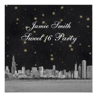 Chicago Skyline Black Gold Star Sweet 16 Card