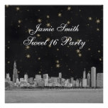 Chicago Skyline Black Gold Star Sweet 16 Personalized Announcement