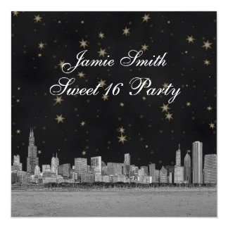 Chicago Skyline Black Gold Star Sweet 16 5.25x5.25 Square Paper Invitation Card