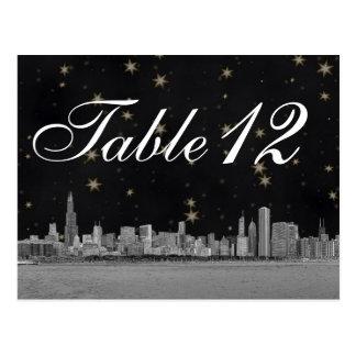 Chicago Skyline Black Gold Star Table Number Postcard